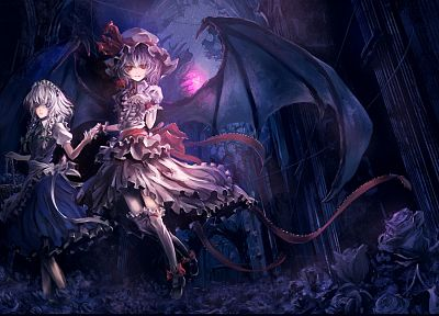 Touhou, wings, dress, flowers, Izayoi Sakuya, vampires, red eyes, Remilia Scarlet, anime girls, Archlich - desktop wallpaper