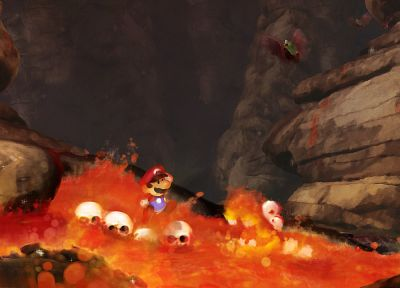 Mario, lava, Super Mario Bros., watercolor - random desktop wallpaper