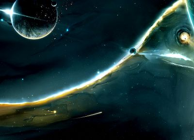 abstract, outer space, stars, planets, comet, wormhole - random desktop wallpaper