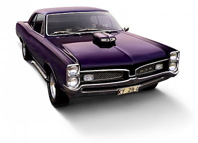 cars, muscle cars, vehicles, Pontiac GTO, simple background, classic cars, front angle view - desktop wallpaper
