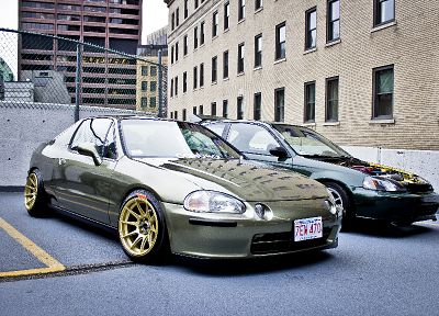 Honda, fences, cars, modified, Civic, Del Sol - random desktop wallpaper