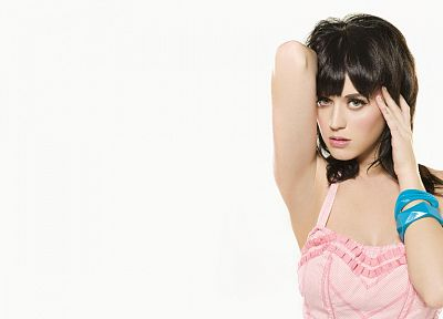 women, Katy Perry, singers, bracelets, white background, bangs - related desktop wallpaper