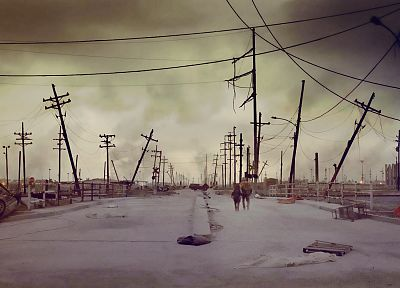 The Road, power lines, apocalyptic, Cinemagraphy - random desktop wallpaper