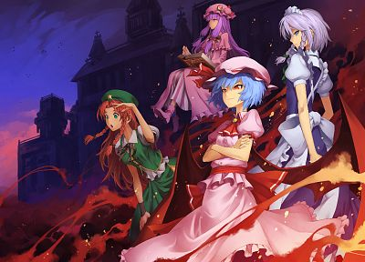 Touhou, wings, maids, blue eyes, fire, redheads, Izayoi Sakuya, blue hair, green eyes, purple hair, red eyes, braids, white hair, Hong Meiling, Patchouli Knowledge, Remilia Scarlet, anime girls, Embodiment of Scarlet Devil - desktop wallpaper