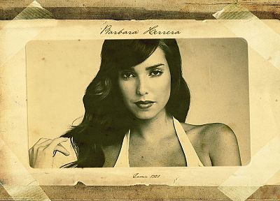 brunettes, women, paper, models, lips, sepia, Barbara Herrera - random desktop wallpaper