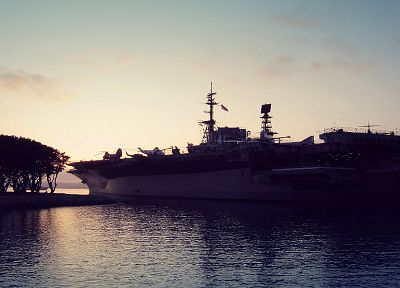 sunrise, landscapes, San Diego, vehicles, aircraft carriers - desktop wallpaper