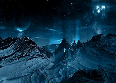 mountains, outer space, planets - desktop wallpaper