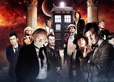 TARDIS, David Tennant, Matt Smith, Fourth Doctor, Tom Baker, Eleventh Doctor, Paul McGann, Doctor Who, William Hartnell, Christopher Eccleston, Peter Davison, Jon Pertwee, Tenth Doctor, Patrick Troughton, Third Doctor, Colin Baker, First Doctor, Eighth Do - random desktop wallpaper