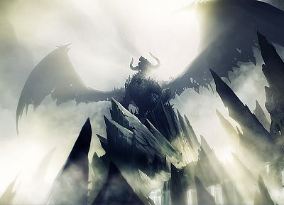 video games, wings, dragons, rocks, mist, Guild Wars 2 - random desktop wallpaper