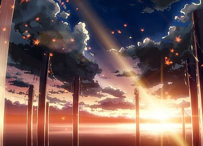 water, sunset, clouds, landscapes, Touhou, leaves, Goddess, sunlight, scenic, maple leaf, lakes, logs, Yasaka Kanako, skyscapes, onbashira, Yuuki Tatsuya - related desktop wallpaper