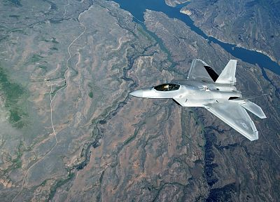 science, landscapes, aircraft, war, fiction, airplanes, F-22 Raptor, jet aircraft, war planes - related desktop wallpaper