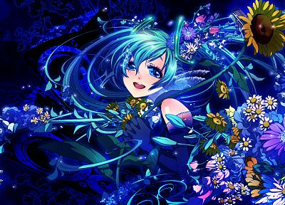 Vocaloid, flowers, Hatsune Miku, twintails, anime - desktop wallpaper