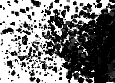 abstract, black, white, cubes, digital art - random desktop wallpaper