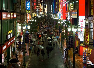 Japan, lights, rain, umbrellas, cities, pedestrians - desktop wallpaper