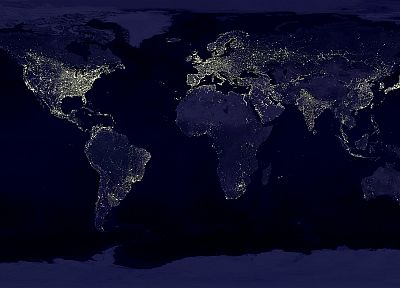 night, worldmap, continents, oceans - random desktop wallpaper