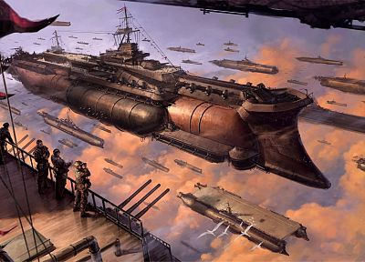 steampunk, ships, fantasy art, reality, realistic, vehicles - random desktop wallpaper