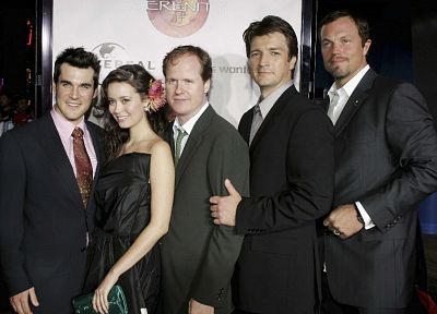 Serenity, suit, Summer Glau, Firefly, Nathan Fillion, Adam Baldwin, Sean Maher, Joss Whedon - random desktop wallpaper
