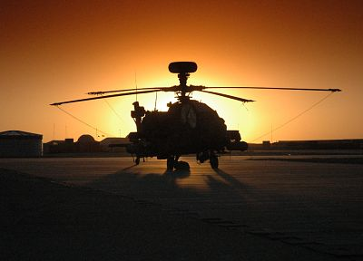 sunset, aircraft, helicopters, vehicles, AH-64 Apache - related desktop wallpaper