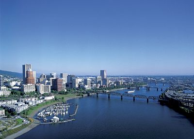 cityscapes, bridges, buildings, Oregon, Portland, rivers, bay - desktop wallpaper