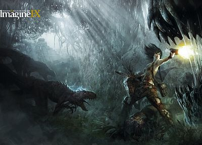women, forests, fighting, dinosaurs, fantasy art, sunlight, girls with guns, torn clothing, imagine fx - desktop wallpaper