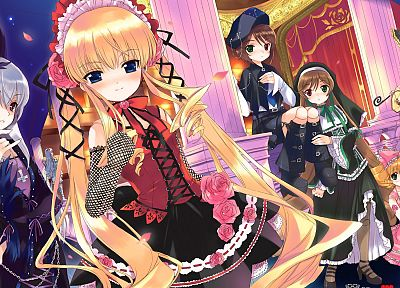 Rozen Maiden, Shinku, Suiseiseki, Suigintou, Souseiseki, Kanaria, Hina Ichigo, bare shoulders - related desktop wallpaper