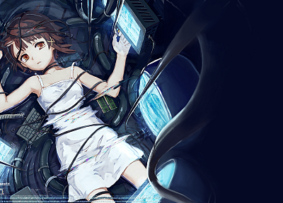 brunettes, computers, dress, Serial Experiments Lain, science fiction, crying, anime girls, cables, holographic - related desktop wallpaper