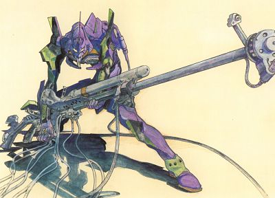 Neon Genesis Evangelion, weapons, EVAs - random desktop wallpaper