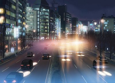 cityscapes, buildings, traffic, downtown, Makoto Shinkai, 5 Centimeters Per Second - desktop wallpaper