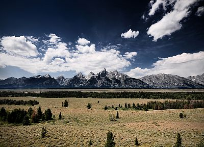 mountains, clouds, landscapes, nature, snow, Wyoming, Rocky Mountains - random desktop wallpaper