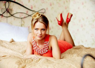 blondes, women, beds, high heels, pillows, red dress - related desktop wallpaper