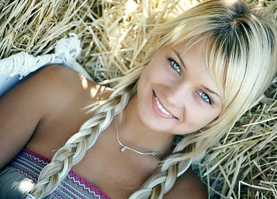 blondes, women, teen, hay, pigtails, smiling, Lada D - random desktop wallpaper
