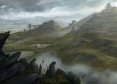 mountains, clouds, rain, rocks, fantasy art, artwork, lightning - related desktop wallpaper