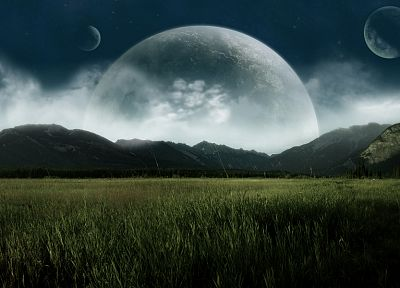 landscapes, nature, planets, fields, planet rises - related desktop wallpaper