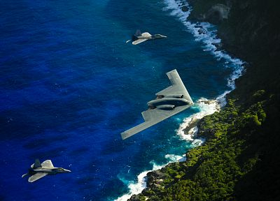 bomber, stealth bomber, planes, B-2 Spirit, beaches - desktop wallpaper