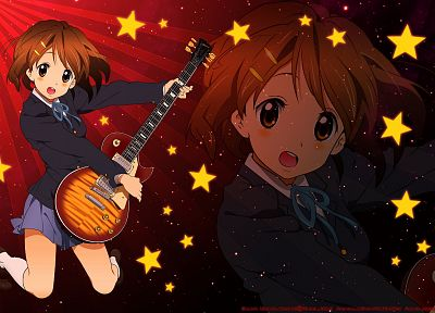 cartoons, K-ON!, Hirasawa Yui, guitars, drawings - related desktop wallpaper