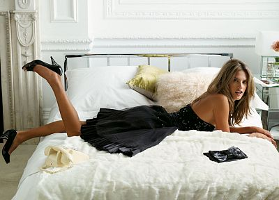 legs, women, dress, beds, models, Alessandra Ambrosio, high heels, black dress, bedroom - related desktop wallpaper