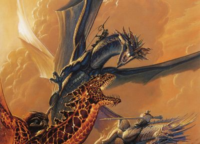 dragons, fantasy art, battles, Todd Lockwood, swords - desktop wallpaper