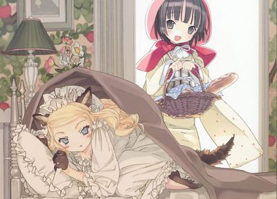 blondes, nekomimi, anime, manga, Hinata Takeda, Ikoku Meiro no Croisée, pajamas, anime girls, Yune, Alice Blanche - desktop wallpaper