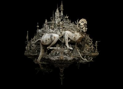 sculptures, Babylon, kris kuksi, black background, beasts - random desktop wallpaper
