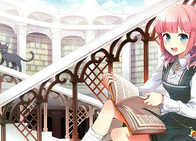 library, anime girls - random desktop wallpaper