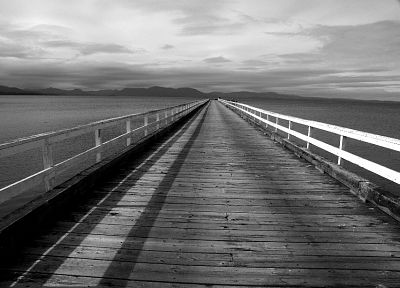 landscapes, piers, grayscale, monochrome, sea - random desktop wallpaper