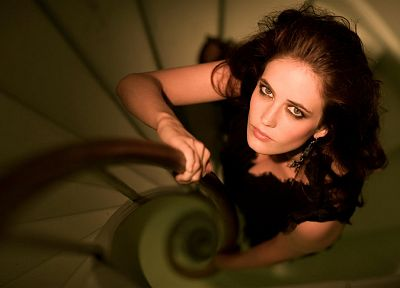 brunettes, women, Eva Green, spiral, stairways - related desktop wallpaper