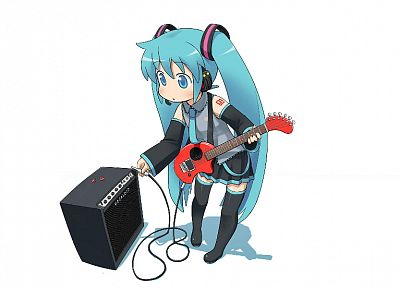 Vocaloid, Hatsune Miku, pigtails, guitars, twintails, anime, simple background, anime girls, detached sleeves, white background - desktop wallpaper