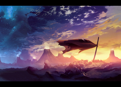 sunset, clouds, Kamina, katana, Tengen Toppa Gurren Lagann, cloaks, anime, capes, graves - related desktop wallpaper
