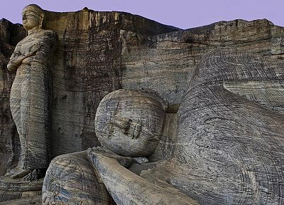 stones, Buddha, Buddhism, sleeping, statues, Sri Lanka - random desktop wallpaper