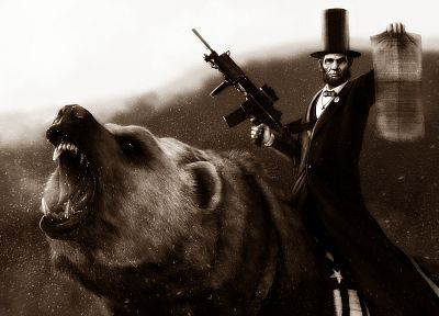 Abraham Lincoln, beard, assault rifle, bears, hats - random desktop wallpaper
