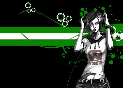 headphones, green, women, abstract - related desktop wallpaper