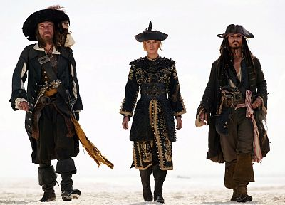 Keira Knightley, Pirates of the Caribbean, Johnny Depp, Geoffrey Rush, Captain Jack Sparrow, Captain Hector Barbossa, Elizabeth Swann - random desktop wallpaper