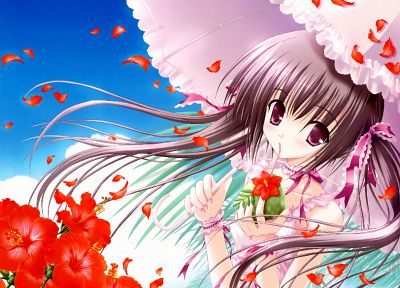 brunettes, flowers, ribbons, anime, umbrellas, pink eyes, flower petals, Tinkle Illustrations, anime girls - related desktop wallpaper
