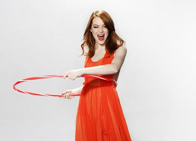 women, dress, actress, redheads, Emma Stone, simple background, hula hoops - random desktop wallpaper